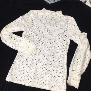 Free People off-white lace long sleeve top GUC